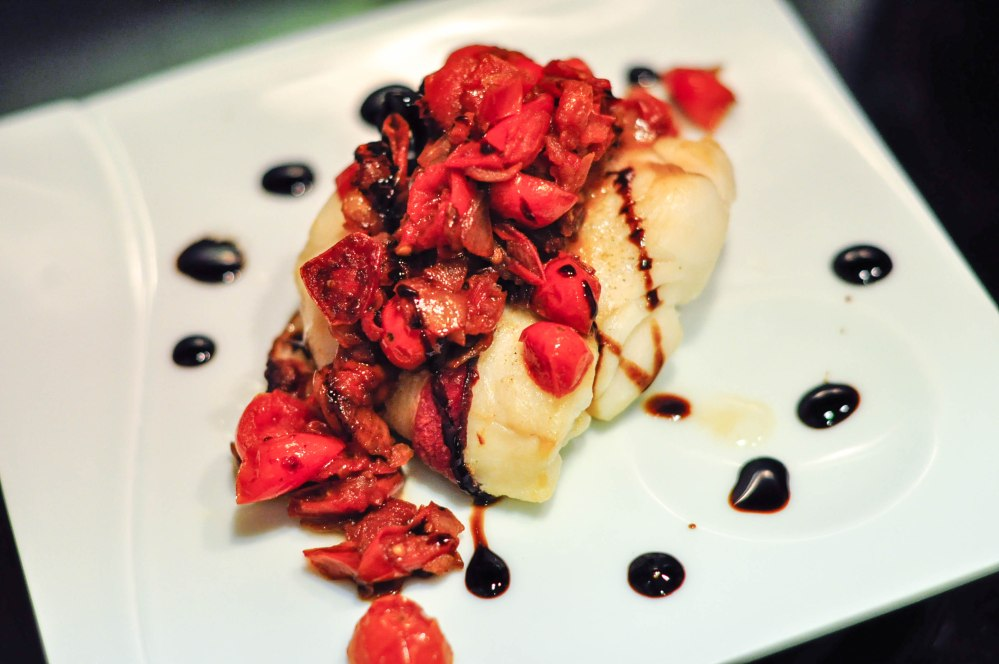 Oven roasted bacon wrapped hoki fillet with cherry tomato sauce and balsamic glaze (8 of 11)