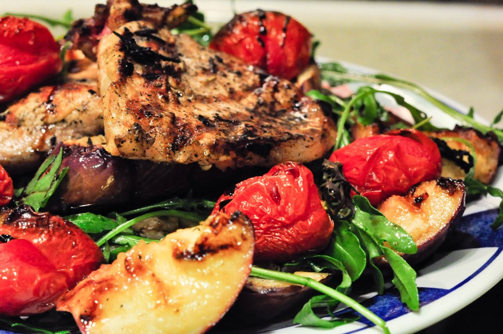 Grilled Pork Chop with Caramelized Nectarines (1 of 1)