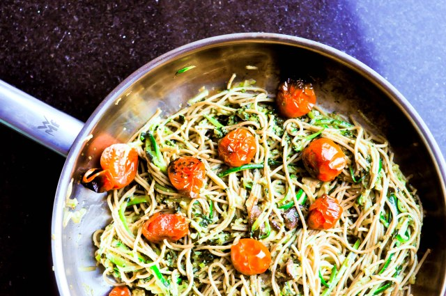 Pesto Zucchini Noodles with Spaghetti and Blistered Tomatoes (5 of 21)