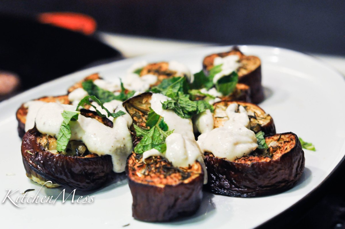 Baked Eggplant with Tahini Buttermilk Dressing