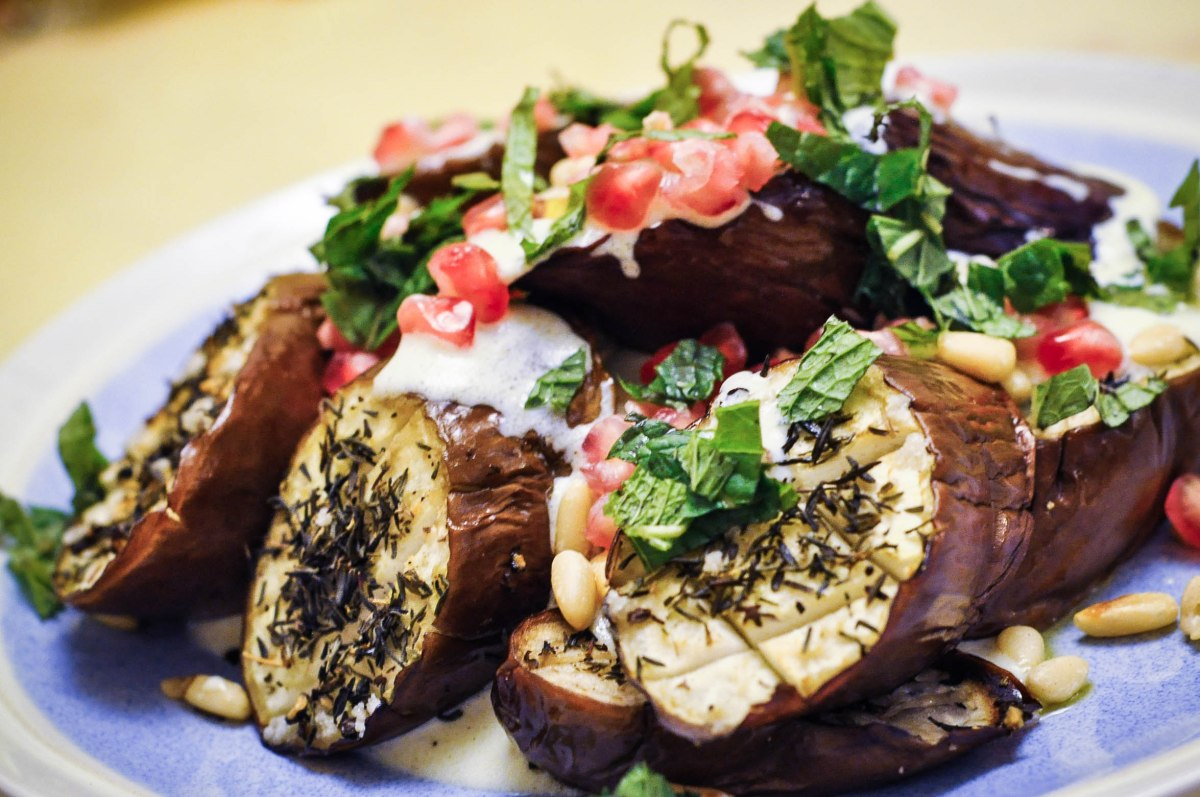 Eggplant with Buttermilk Greek Yoghurt Dressing and Pomegranate