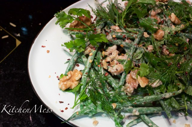 Tahini dressed haricot verts with walnuts and chilli flakes (3 of 9)