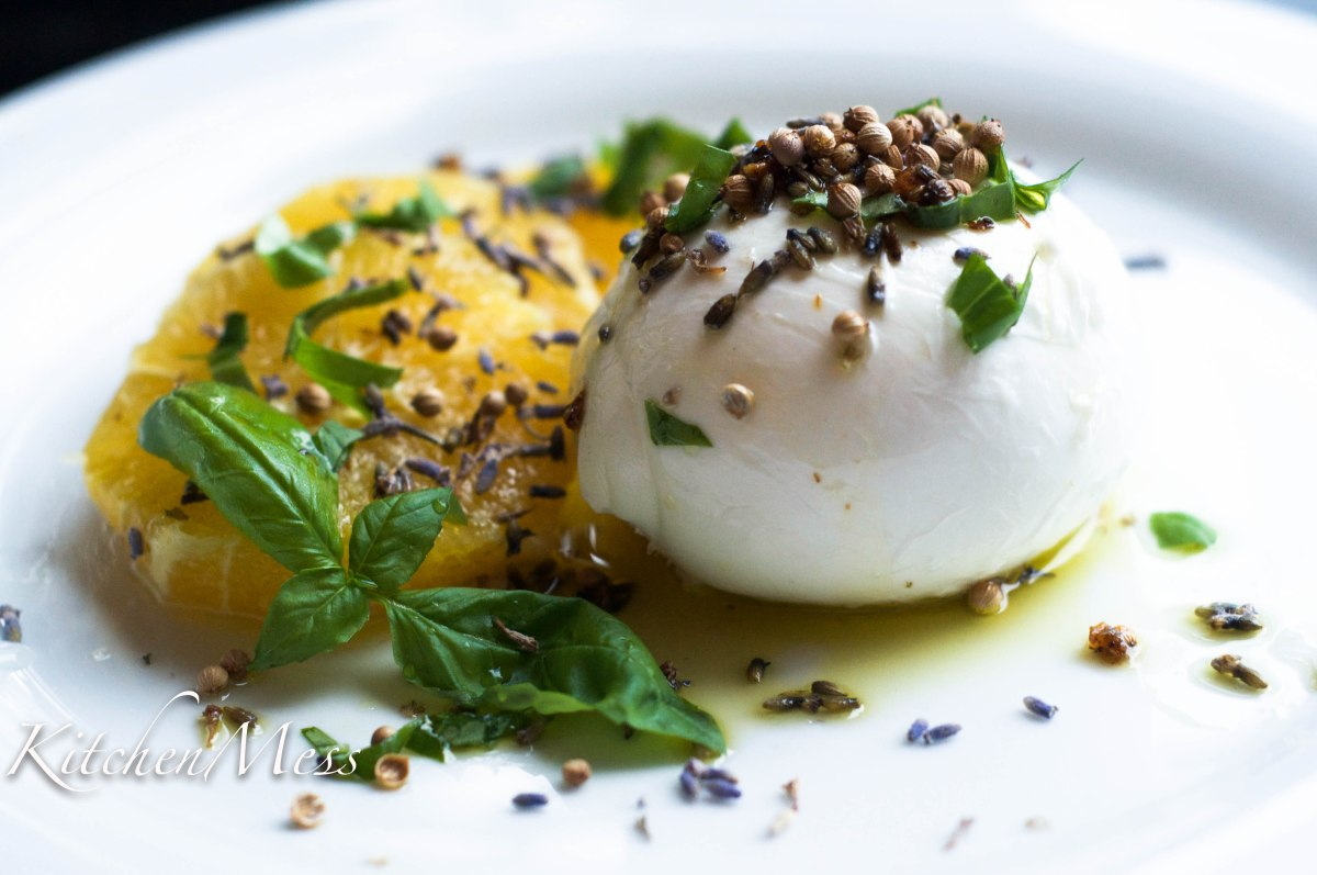 Buffalo Mozzarella with Orange, Coriander Seeds and Lavender Oil