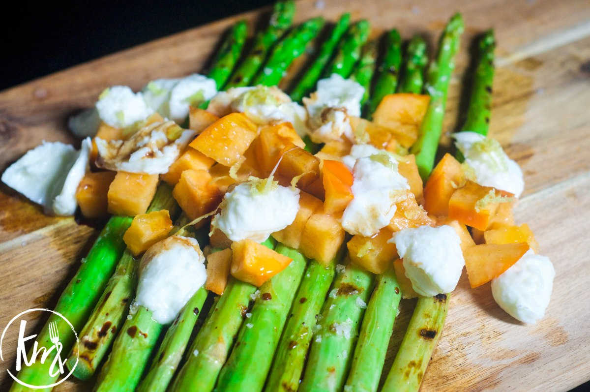 Grilled Asparagus with Torn Bocconcini and Persimmon