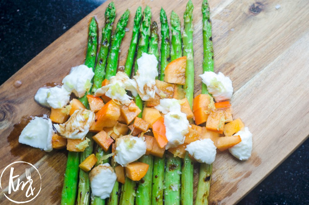 Grilled asparagus with persimmon and mozzarella (13 of 14)
