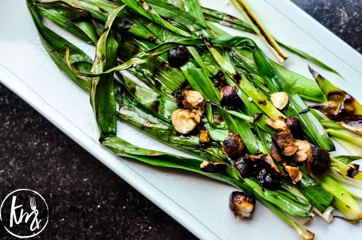 Grilled leeks with hazelnut brown butter