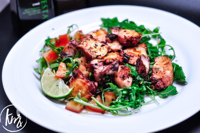 Grilled octopus arugula salad-1061