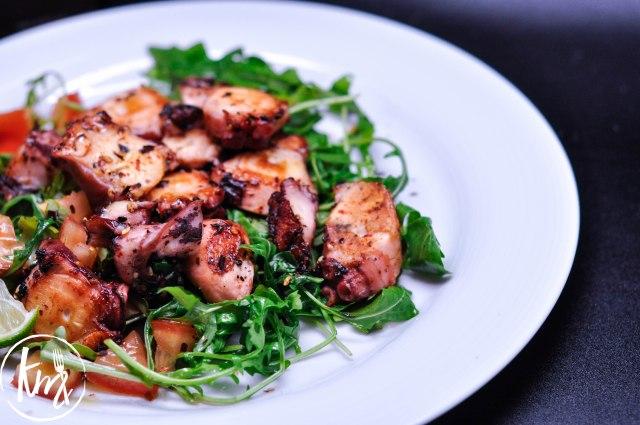 Grilled octopus arugula salad-1062